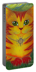 Rajah Golden Sun Cat Portable Battery Charger by Carrie Hawks