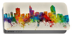 Raleigh North Carolina Skyline Panoramic Portable Battery Charger by Michael Tompsett