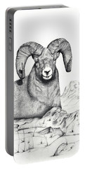 Portable Battery Charger featuring the drawing Ram by Mayhem Mediums
