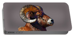 Portable Battery Charger featuring the digital art  Ram Portrait - Rocky Mountain Bighorn Sheep By Olena Art by OLena Art Brand