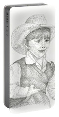 Portable Battery Charger featuring the drawing Ranch Hand by Mayhem Mediums