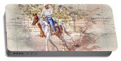 Ranch Rider Digital Art-b1 Portable Battery Charger