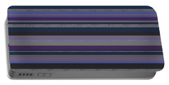 Portable Battery Charger featuring the digital art Random Stripes - Grayed Blues And Purple by Val Arie