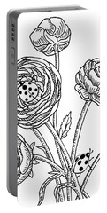 Ranunculus Flower And Ladybugs Drawing  Portable Battery Charger