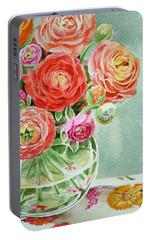 Ranunculus In The Glass Vase Portable Battery Charger by Irina Sztukowski
