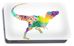 Raptor 2 Dinosaur Watercolor Portable Battery Charger by Svetla Tancheva