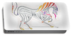 Rarin' To Go -- Stylized Medieval Prancing Horse W/ Rainbow Mane Portable Battery Charger