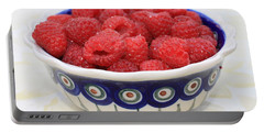 Raspberries In Polish Pottery Bowl  Portable Battery Charger by Carol Groenen