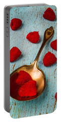 Raspberries With Antique Spoon Portable Battery Charger by Garry Gay