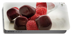 Raspberry Chocolate Portable Battery Charger by Sabine Edrissi