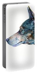Portable Battery Charger featuring the painting Rat Terrier by Zaira Dzhaubaeva