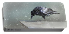 Raven In Winter Portable Battery Charger