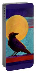 Portable Battery Charger featuring the painting Raven Moon by Nancy Jolley