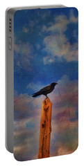 Portable Battery Charger featuring the photograph Raven Pole by Jan Amiss Photography