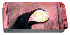 Portable Battery Charger featuring the painting Raven Steals The Sun by 'REA' Gallery