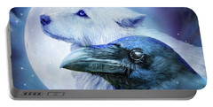 Portable Battery Charger featuring the mixed media Raven Wolf Moon by Carol Cavalaris