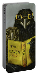 Ravens Read Portable Battery Charger by Leah Saulnier The Painting Maniac