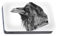 Portable Battery Charger featuring the drawing Ravenscroft The Raven by Abbey Noelle