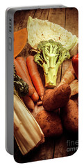 Raw Vegetables On Wooden Background Portable Battery Charger