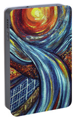 Portable Battery Charger featuring the painting Ray Of Hope 3 by Harsh Malik