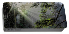 Morning Rays Through An Oregon Rain Forest Portable Battery Charger