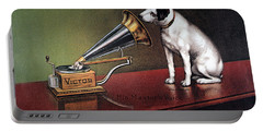 Portable Battery Charger featuring the photograph Rca Victor Trademark by Granger