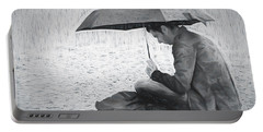 Reading In The Rain - Umbrella Portable Battery Charger by Nikolyn McDonald