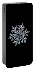 Portable Battery Charger featuring the photograph Real Snowflake - Hyperion Black by Alexey Kljatov