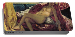 Reclining Odalisque Portable Battery Charger by Ferdinand Victor Eugene Delacroix