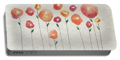 Red Abstract Floral Portable Battery Charger