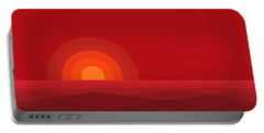 Red Abstract Sunset II Portable Battery Charger