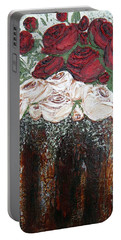 Red And Antique White Roses - Original Artwork Portable Battery Charger