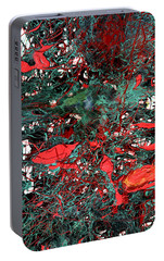 Portable Battery Charger featuring the painting Red And Black Turquoise Drip Abstract by Genevieve Esson