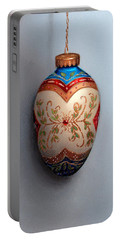 Red And Blue Filigree Egg Ornament Portable Battery Charger