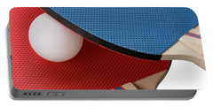 Red And Blue Ping Pong Paddles - Closeup Portable Battery Charger