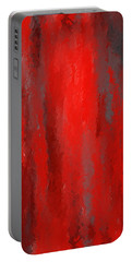 Red And Bold - Red And Gray Art Portable Battery Charger