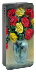 Red And Gold Luminesence  Portable Battery Charger by Randy Burns