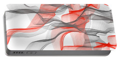 Red And Gray Ribbons -red And Gray Art Portable Battery Charger