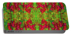 Portable Battery Charger featuring the digital art Red And Green Floral Abstract by Linda Phelps