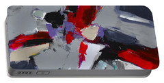 Portable Battery Charger featuring the painting Red And Grey Abstract By Elise Palmigiani by Elise Palmigiani