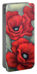 Red And Grey Portable Battery Charger by Inese Poga