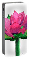 Red And Pink Lotus Floral Watercolor Painting 619 Portable Battery Charger