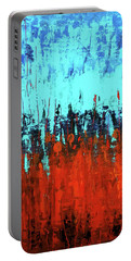 Red And Turquoise Abstract Portable Battery Charger