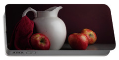 Red And White Apple Still Life Portable Battery Charger