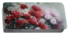 Red And White Flowers Portable Battery Charger
