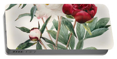 Red And White Herbaceous Peonies Portable Battery Charger