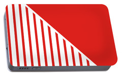 Red And White Triangles Portable Battery Charger by Linda Woods