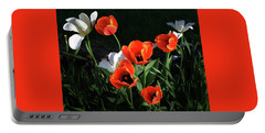 Red And White Tulips Portable Battery Charger