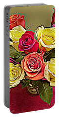 Red And Yellow Rose Bouquet Portable Battery Charger