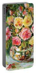 Red And Yellow Roses Portable Battery Charger